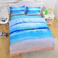 Single/Double/Queen/King Bed Quilt/Doona/Duvet Cover Set Pillowcase Blue Beach