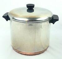 Vintage 1801 Revere Ware About 8 Qt -83 Stock Pot Copper Bottom Clinton W/ Lid
