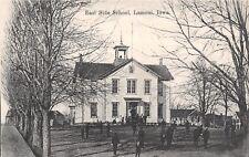 Lamoni Iowa~East Side School~Belfry~Students in Yard~Houses~1908 B&W Postcard