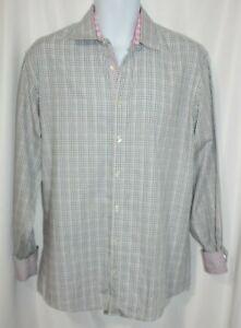 Tallia Men's Shirt Gray Pink Plaid Flip Cuff Shirt Button Front 16.5 Large