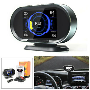 HUD Car Digital Computer OBD2 Scanner Fuel Consumption Water Temperature Gauge