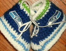 Custom Handmade Crochet Seattle Seahawks Football Navy High Tops Baby Booties