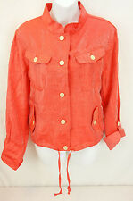 New With Tags Linear Coral Shiny Drawstring Button Up Shirt Top Women's Size XL
