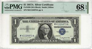 1957 A $1 SILVER CERTIFICATE NOTE FR.1620 MA BLOCK PMG SUPERB GEM UNC 68 EPQ