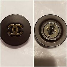 1 Chanel Brown eggplant CC button resin metal signed on back Great Condition