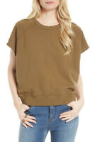 Free People Womens Short Sleeve OB569542 Sweatshirt Relaxed Green Size XS