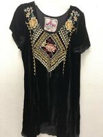Johnny Was Velvet Embroidered Tunic Small Black
