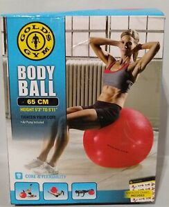 Golds Gym 65 cm Body Ball Anti Burst, Exercise, Work Out, Fitness Blue W Pump
