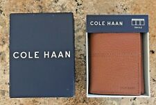 NEW Cole Haan Pebble Leather Trifold Wallet Cognac Brown Retail $88