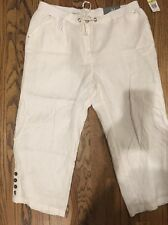 Jm Collection White Size 18 Drawstring Linen Capri Pants