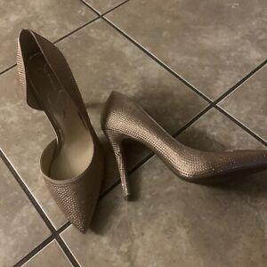 NEW Jessica Simpson 11 Rose Gold Rhinestone Classic Shape Heels