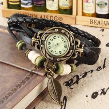 Women Retro Vintage Leaf Wrap Quartz Leather Braided Bracelet Wrist Watch Black