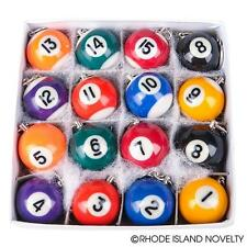 """16 ASSORTED POOL BALL BILLIARDS KEYCHAINS Set 1-15++ 7/8"""" #ST14 Free Shipping"""