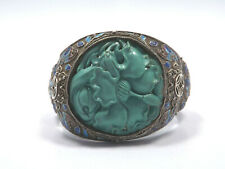 Antique Chinese Silver Filigree Enamel Large Carved Turquoise Flower Bracelet