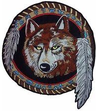 "DREAMCATCHER Dream Catcher Wolf Embroidered Biker Jumbo Back Patch 10""/25cm"