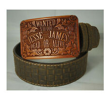 Cintura cowboy western country pelle stampata cocco fibbia legno Jesse James