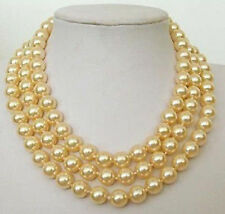 "8mm Yellow South Sea SHELL PEARL NECKLACE 54""  G01"