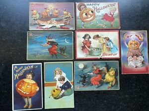 Antique Vintage HALLOWEEN POSTCARD LOT, early 1900's