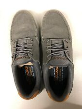 Skechers 65493 Mens Relaxed Fit Memory Foam Boat Shoe Gray US Men's 10