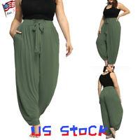 Women Casual Wide Leg Slacks Harem Pants Yoga Baggy Hippie Trousers Plus Size US