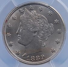 """1889 LIBERTY """"V"""" NICKEL PCGS MS 64  NICE LUSTER AND STRIKE PALE PASTEL REVERSE"""