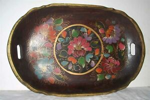 """Large Beautiful Vintage 19.5"""" Mexican Batea Wooden Tole Floral Tray"""