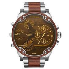 NWT  Men's Diesel Mr Daddy 2.0 Silver Tone Leather Stainless Steel Watch DZ7397