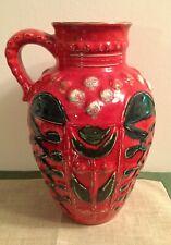 West German Pottery midcentury Vase Bay Keramik Form 99 30 red rot handpainted.
