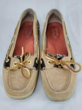 Sperry Top-sider Angelfish Linen Leopard Sparkle Boat Shoes 9102815 Womens 8.5M