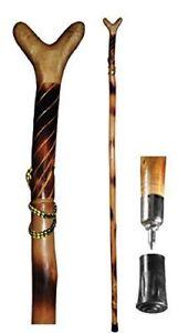 "Wood Walking Hiking Hike Stick Cane Staff with V Yoke for Rifle 55"" Natural Wood"