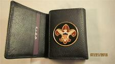 BOY SCOUTS HIGH GRAIN QUALITY BLACK LEATHER TRIFOLD WALLET
