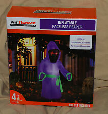 HALLOWEEN INFLATABLE FACELESS REAPER LIGHTED OUTDOOR YARD DECORATION 4' TALL NEW