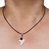 Real Shark Tooth Teeth Pendant Charm Necklace with Black Cord
