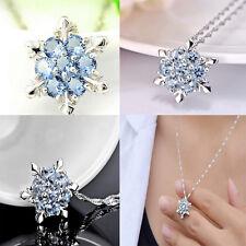 HOT Elegant Damen silber Halskette mit Himmelblau Kristall Schneeflocke Gehänger