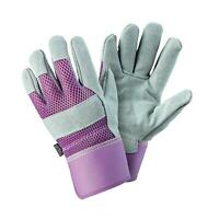 Womens/Ladies Rigger Gardening Gloves Durable Leather Breathable Material Small