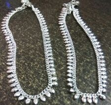2 pcs (1 Pair) Gift Jewelry Silvertone Metal High Polished Anklets for Women