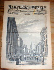 1882 Illustrated newspaper wFront Pg engraving WALL STREET New York Stock Market