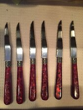 Steak Knives, Set of 6, Pink/maroon Colored Handles , Chic, Unique