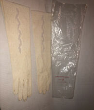Vtg Long Gloves 100 % White Cotton Beaded Size 7 Costume Party Beautiful