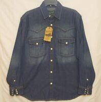 NWT Woolrich Men's Distressed Chambray Denim Pearl Snap Work Shirt Sz Medium