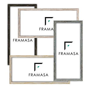 Long Panoramic Black Vintage Spoon Photo Frame White picture Frame Distressed