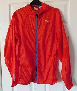 PUMA Lightweight Red Zip Designer Training Jacket Running Hooded Top Size Medium