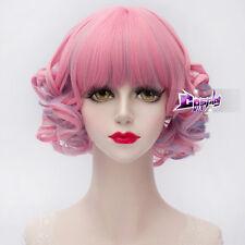 30CM Pink Mixed Blue Short Curly Hair Lolita Lady Harajuku Anime Cosplay Wig