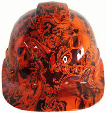 Hard Hat Hydro Dipped Hi-Vis Orange Filigree Skulls w/ Free BRB Customs T-Shirt