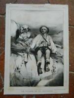 Grabado Celestine Nanteuil el Ladrón de La Montaña Aubert Juncà Colbert