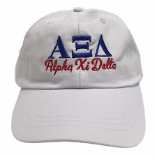 5e8da9753b4 Alpha Xi Delta (S) White Hat with Blue Red Thread Baseball Hat