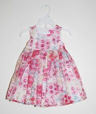 NWT Isaac Mizrahi Infant Girls Pink Floral Easter Dress with Bloomers, sz 12 M
