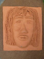 Hand Carved Clay Pottery Face Sculpture Plaque Tile Aztec ? American Indian ?