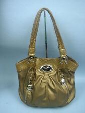 Sienna Ricchi Bronze Faux Leather Satchel With Faux Croc Trim