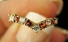 9ct Gold Red & White Stone Wishbone Ring Very Pretty Size UK O &15/55/7.5 Non UK